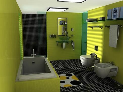 Интерьер ванной комнаты в зеленом цвете