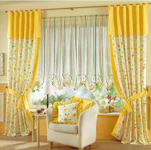шторы желтого цвета в интерьере