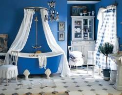 Синий цвет для дизайна ванной комнаты