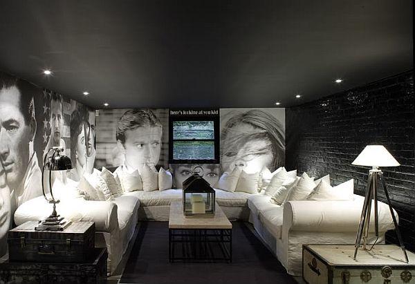 Черный цвет в дизайне потолка
