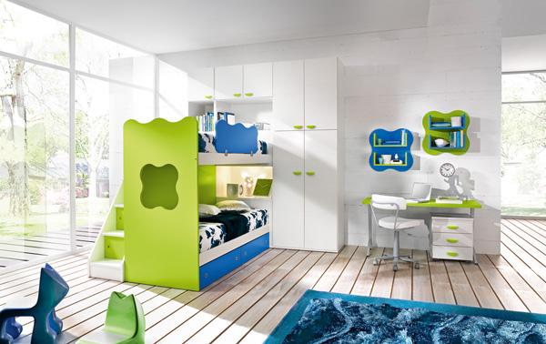 Интерьер детской комнаты в зеленом цвете