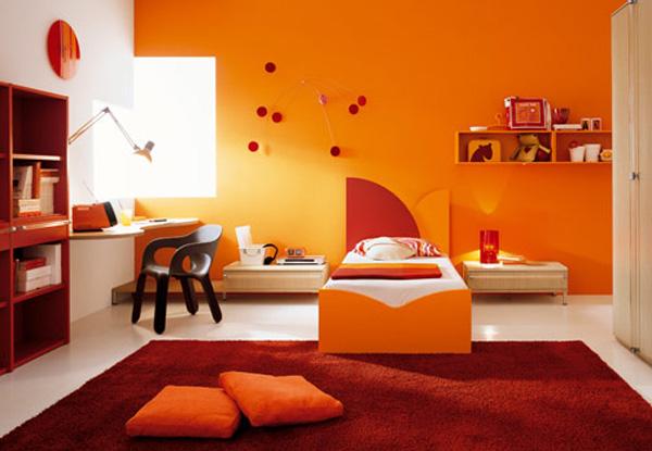 Оранжевый интерьер детской