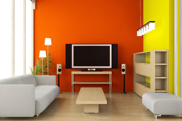 Интерьер гостиной оранжевого цвета