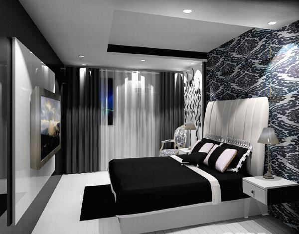 Серый цвет в черно-белых интерьерах
