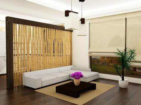 Бамбук в интерьере гостиной