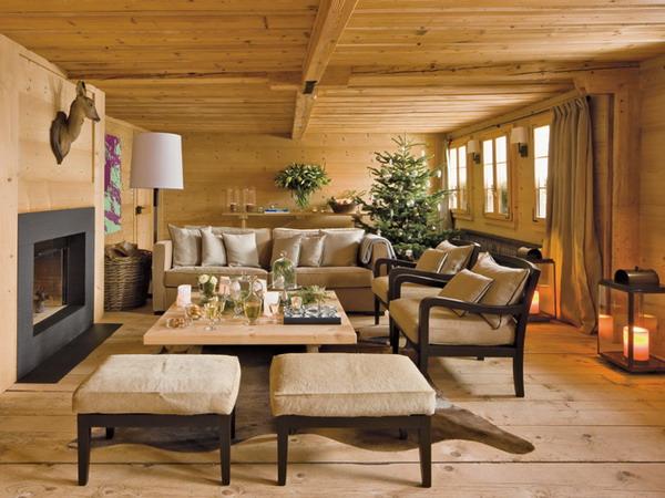 деревянный интерьер в стиле шале