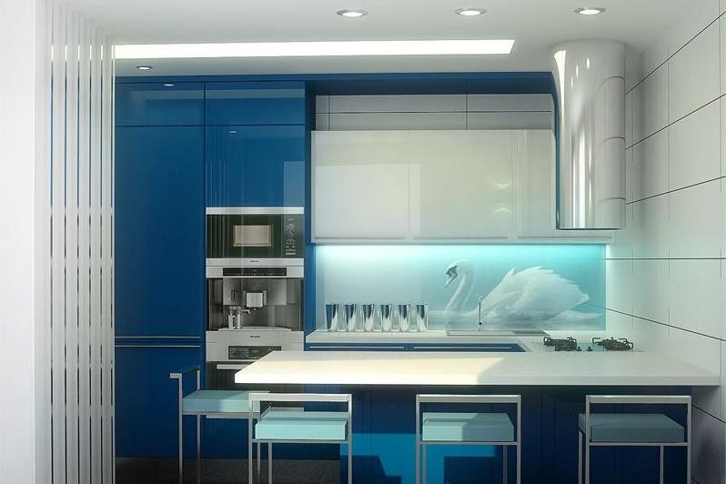 Кухонные гарнитуры со стеклянным фартуком