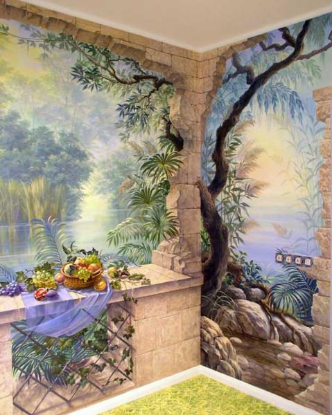 художественная роспись на стенах в интерьере