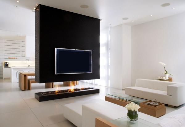 телевизор над камином в интерьере