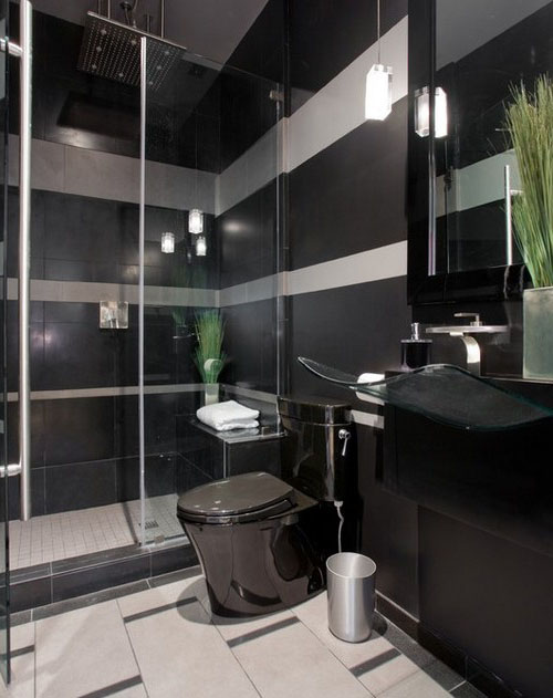 Дизайн туалета с чёрным унитазом фото