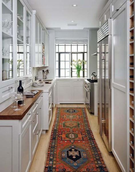 дизайн узкой и длинной кухни