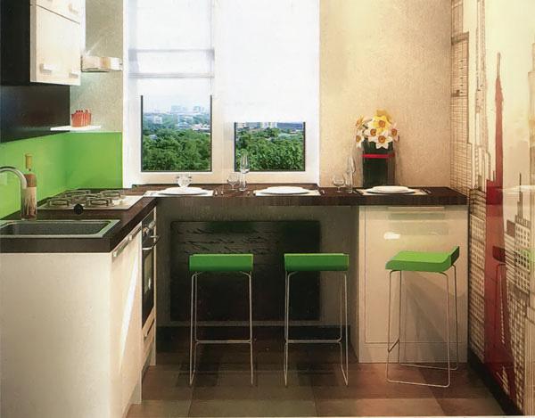 подоконник на небольшой кухне