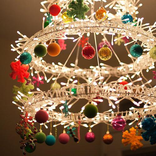Новогоднее украшение люстры с помощью шаров