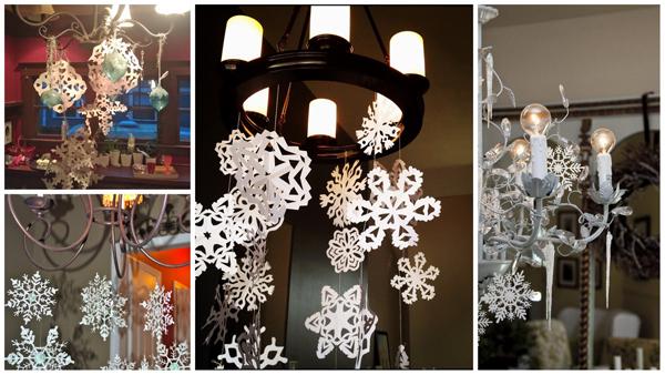 Новогоднее украшение люстры снежинками