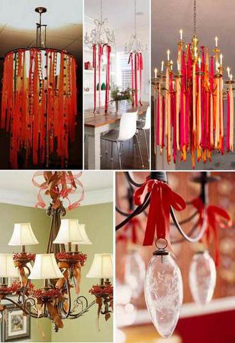 Новогоднее украшение люстры с помощью лент