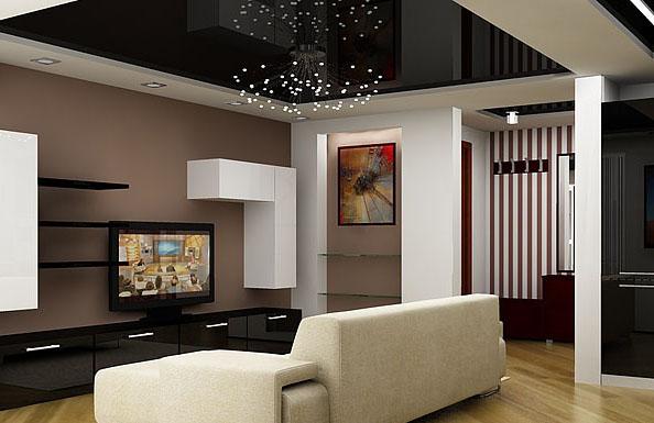 темные потолки в интерьере квартиры