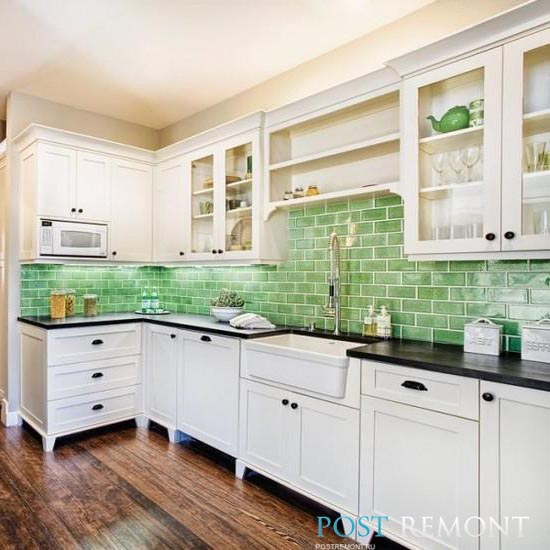 как подобрать цвет фартука на кухне