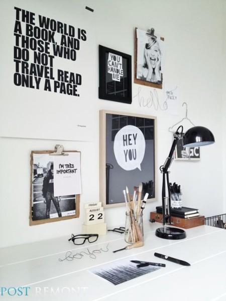 Обои с надписями и буквами в интерьере, PostRemont