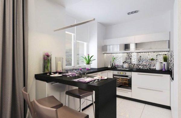 кухни с черными столешницами фото