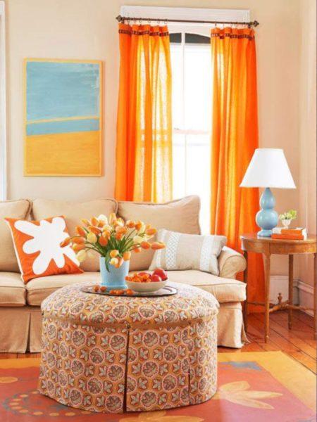 оранжевые гардины