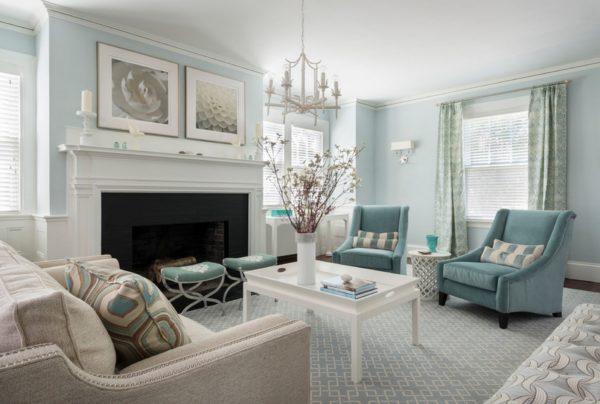 гостиная голубого цвета